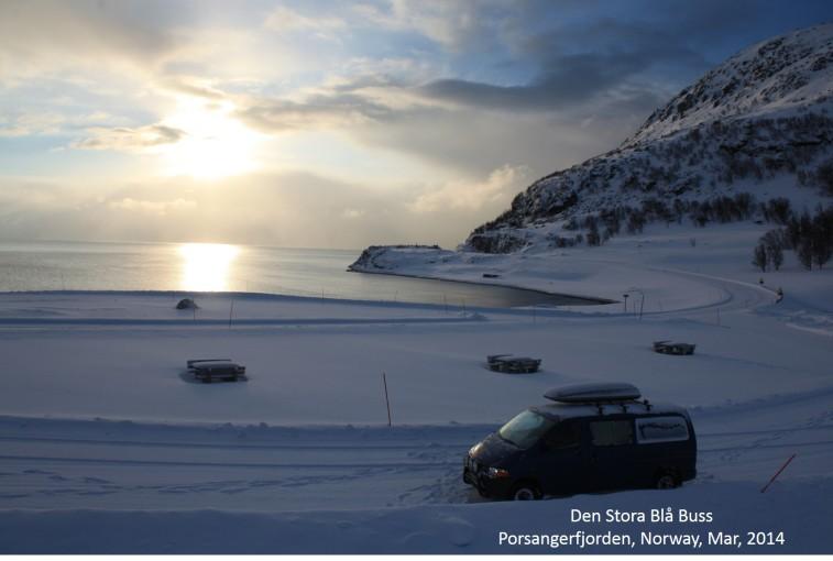 Den Stora Blå Bus at Porsangerfjorden, North Norway, Mar 2014.