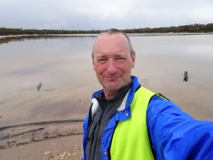 Me and a wet salt lake, in the rain