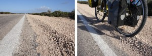 SA roads have a Dune of Death paralleling the asphalt, treacherous for any thin wheeled vehicle to traverse. And NO shoulder!