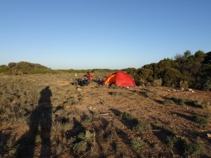 Wild camp out of the wind (not!)