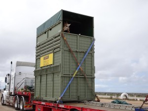 How to transport a giraffe, as shown at the Nullarbor Roadhouse
