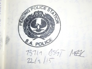 An official Penong Police stamp for my complaint against a dangerous vaner