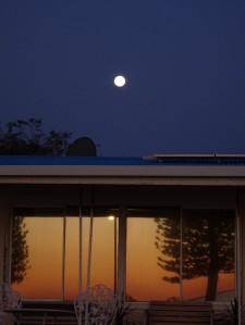 Super moon & reflected sunset