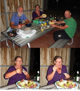 Amazing seafood dinner, with Rob (the hairy one) and Jenny (WIl's taking the photo). Note Jen eating her first oyster in living memory