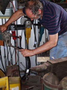 Denys The Genius as he spot-welds Ziflex's mudguard