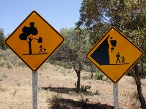 Rather worrying warnings at the entrance to Warren Gorge