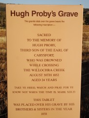 What's on the tablet on Hugh Proby's grave