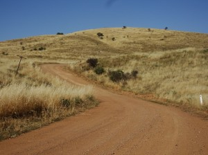 Old Gunyah Road winding its way to Quorn