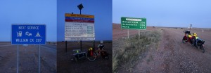 Early morning signs as I depart Marree