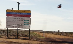 The road warning sign heading to Oodnadatta