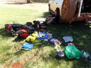 My Hero Stuart and the supplies he bought me, in Marla Caravan Park