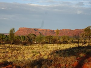 View from the sunset platform at Watarrka Resort overlooking where the Canyon is in the George Gill Range