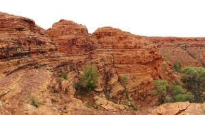 Banding of the sandstone layers and the blocky erosion has produced extraordinary visual effects