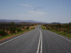 The glorious asphalt road east towards Glen Helen