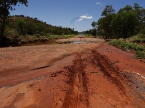 Some floodways on the the Namatjra Drive clearly show the effects of three days of rain