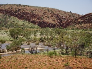View from the lookout over the Finke to Glen Helen Gorge, through which the Finke flows