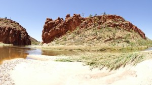 A pano of Glen Helen Gorge and flattened reeds
