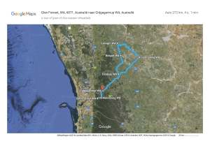 Paps and my planned - & eventual - route around the western Wheatbelt