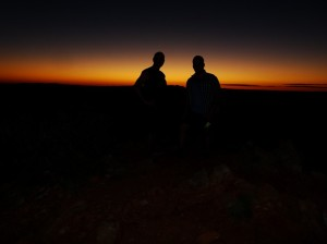 Roger and I as stark silhouettes