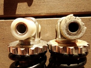 Easy to see the wear on the old shock absorber vs the enw