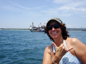 Gina, demonstrating that surfing salute
