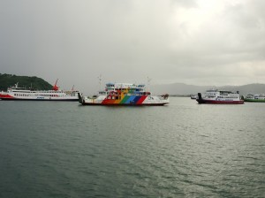 Idle ferries awaiting high season
