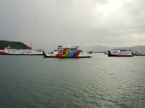 Idle ferries awaiting high season