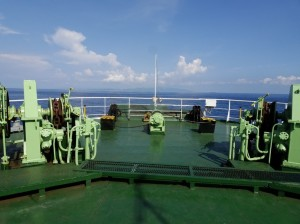 Most ferries absolutely forbid passengers from going right to the stern. Not here. Lombok dead ahead