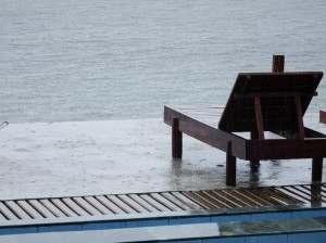 Nothing more forlorn than a beach deck-chair in the rain