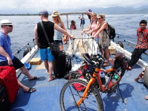 Dreamer and the barge to Gili Meno