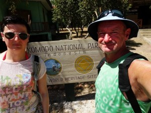 Ram and I and The Komodo National Park sign.