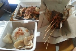 With Ram laid up with a cold I scoured Legian for authentic foods, returning with her favourite of ayam satay (chicken satay)
