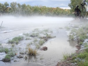 A thick layer of fog rose over the Todd River