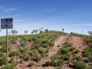 Any hill or creek bed is fair game to 4WDrivers who 'test' their skills by destroying said hill. Here the Aboriginal land owners have tried to dampen such behaviour