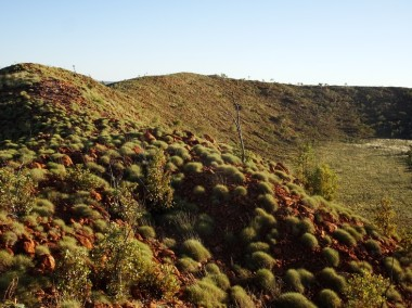 The inner slopes are 50 degrees, covered in spinifex