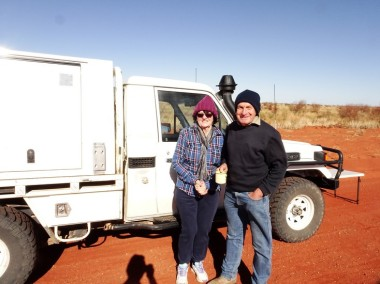 Jeff and Linda. Rugged up and still chilled. In a desert. Hmmm ...