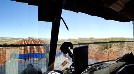 Hard to take a panorama in a vibrating truck cab. Interesting shot though