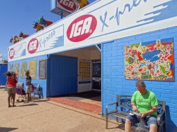 IGA supermarket, like all other shops, a fortress