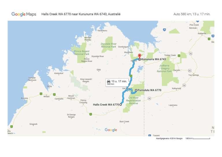Halls Creek WA 6770 naar Kununurra WA 6743, Australië - Google Maps