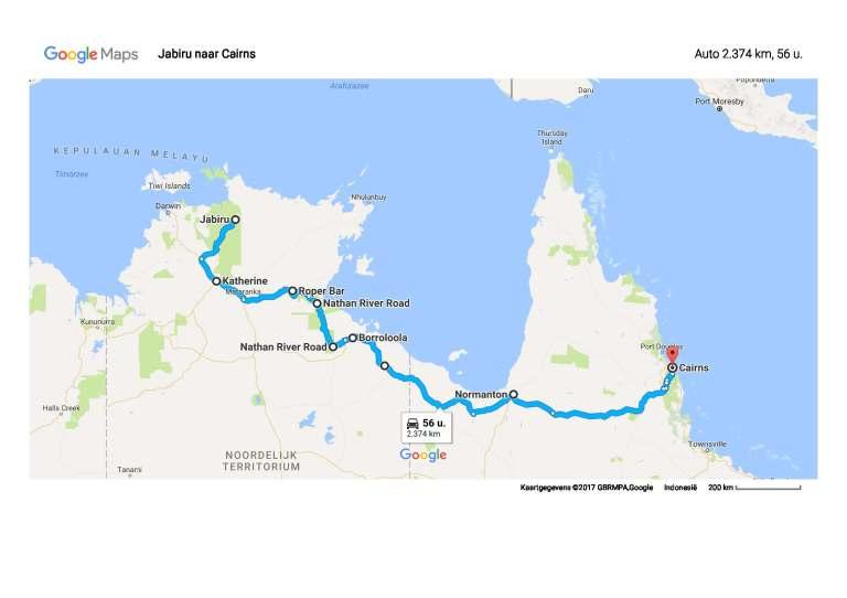 1706 Jabiru naar Cairns - Google Maps