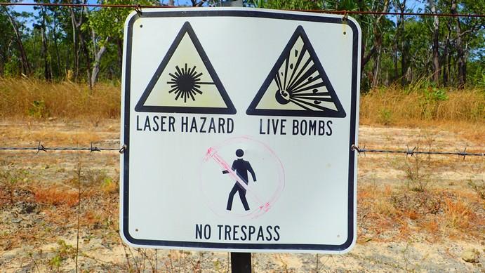 Goddit! Trespass, laser-sighted live bombs = fried trespasser