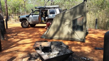 Setting up the Oztent at Florence Falls