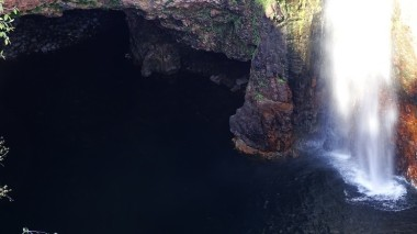 Watery grotto at the base of Tolmer Falls