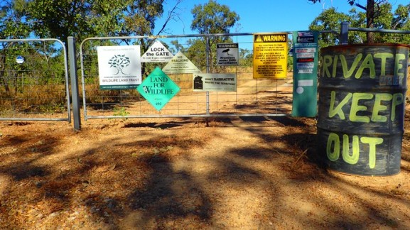 The usual friendliness of some Australian property owners along the Dorat Road, plus some anti-irresponsible resource development standpoints