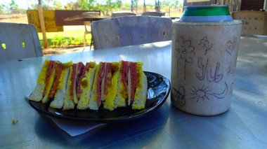 So, I had a sammy. And a beer. I've 80 km to Pine Creek along a bit of grungy road