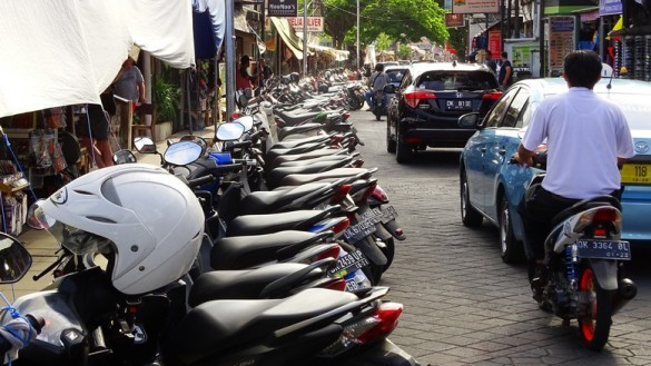 Traffic in Legian is a cramped as anywhere else along Kuta