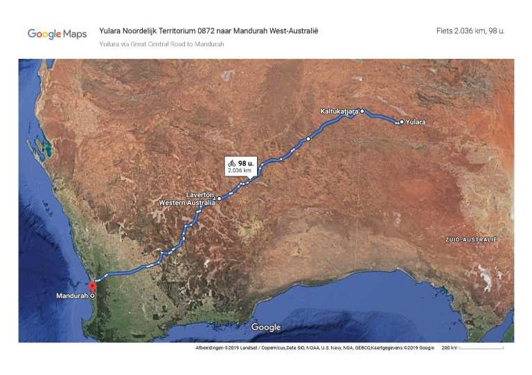 Yulara naar Mandurah_Maps